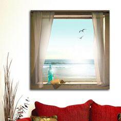 Bring visual interest into your space with this serene ''Message in a Bottle'' canvas wall art. <ul> <li>Beach themed lends nautical appeal.</li> <li>Box frame rests on nail, making hanging easy. PRODUCT DETAILS</li> <li>33''H x 33''W x 1''D</li> <li>Square display</li> <li>Canvas, wood</li> <li>Ready to hang</li> <li>Wipe clean</li> <
