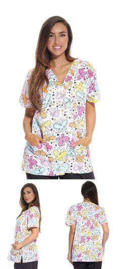 Women/'s Fashion Medical Nursing Scrub Tops Gray Base Pink Purple Butterflies M