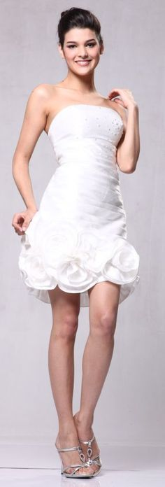 Taffeta Off White Cocktail Dress Ruched Rose Hem Short Strapless Prom Dress $69.99