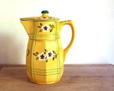 Vintage Pitcher Japanese Yellow Flowers and Plaid by CalloohCallay, $42.00