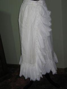 EXCEPTIONAL Antique Victorian Petticoat~Skirt~HM Broiderie Anglais Lace~Linen