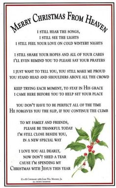Merry Christmas In Heaven christmas christmas quotes christmas quotes for family christmas quotes about losing loved ones christmas in heaven quotes christmas in memory quotes Christmas In Heaven Poem, Christmas Poems, First Christmas, Xmas Poems, Christmas Prayer, Christmas Blessings, Christmas Traditions, Christmas Time, Xmas Quotes