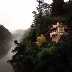 Kings Bridge Cottage, within Launceston's Cataract Gorge Reserve, thanks to. Nestled on the edge of a 200 million year old dolerite cliff overlooking the South Esk River, the cottage was built in the to house the gatekeeper of the reserve. Perth, Brisbane, Melbourne, Moving To Australia, Australia Travel, Tasmania, Cairns, Places To Travel, Places To See