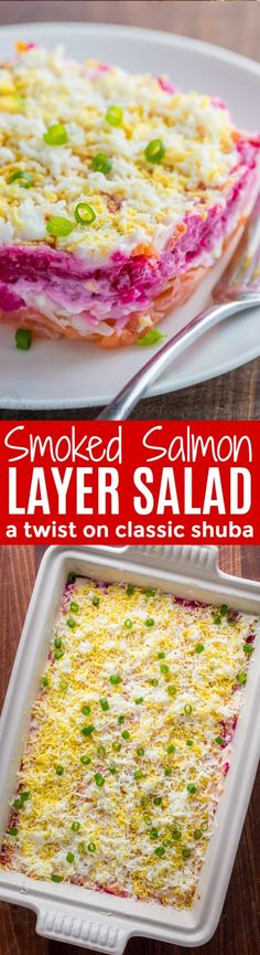 This Smoked Salmon Salad is our version of the classic Russian Shuba. This salmon layer salad is unique and absolutely delicious. WOW your dinner guests! | natashaskitchen.com