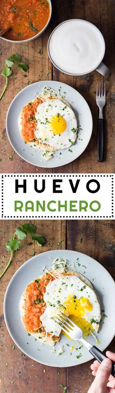 A 5-minute nutrient-dense vegetarian Mexican breakfast: quick and easy Huevo Ranchero. The only thing you need to start your day as if at a beach resort.