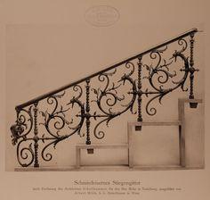 Archivbild: Villa Mohr, schmiedeeisernes Stiegengitter