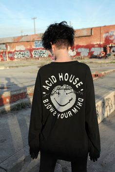 wetware unisex acid house 90's rave smiley face 100% cotton longsleeve tee back