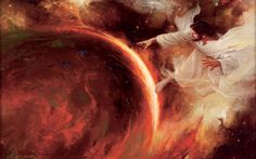 Jehovah creates the earth.  One of my favorite paintings.
