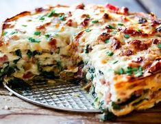 Spinach and Ham Savory Crepe Cake with Gluten Free Crepes ~ Cooks With Cocktails Crepe Recipes, Waffle Recipes, Pork Recipes, Chicken Recipes, Cooking Recipes, Pancake Recipes, Recipies, Crepes And Waffles, Savory Crepes