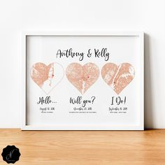 Important Date Last Minute Gift For Bride, For Groom, For Couple, 3 Heart Map Print, Hello Will You I Do, Relationship Dates, Wedding Art Gifts For Nan, Aunt Gifts, Sister Gifts, Gifts For Wife, Gifts For Friends, Couple Presents, Heart Map, Marriage Anniversary, Map Wall Art