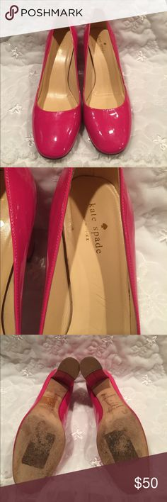 Kate Spade pink patent leather chunk heel pumps Wear on bottom not much, would most likely wipe off there's a dark mark on side that would prob come out with goo gone, a slight tear inside that isn't seen and isn't pulling away etc so basically cosmetic blemish, overall very good condition look brand new on kate spade Shoes Heels