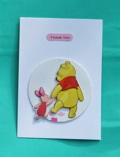 Winnie the pooh Cards / Cute handmade winnie the pooh cards / Etsy Shop Names, Disney Cards, Decoupage Paper, Unique Cards, Kids Cards, Cute Cards, Happy Day, Tigger, Thank You Cards
