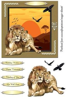 Wild Animals 2 quick card topper on Craftsuprint designed by Maggie Skerrett - 2nd in a series of 5 depicting wild animals from across the world. . 1 sheet which includes 6 1/2 inch card front, decoupage elements and sentiment panels. Thank you for lookng at my designs, please click on my name to see my other cards. - Now available for download!