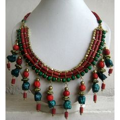Turquoise and Coral Bohemian Necklace / Statement by FootSoles, $27.90
