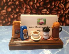 Polymer clay business card holder Spa business by NaomisSweetStuff