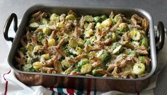 Nigella BBC - Food - Recipes : Hearty wholewheat pasta with Brussels sprouts, cheese and potato Potato Recipes, Veggie Recipes, Pasta Recipes, Vegetarian Recipes, Cooking Recipes, Vegetarian Dish, Vegetarian Dinners, Ricotta, Lasagne Dish