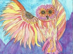 Fantasy Owl Original Drawing Study Watercolor by FreelyExpressed, $20.00