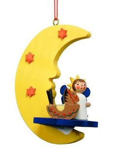 Angel On The Moon With Rocking Horse And Christmas Tree Classic Wooden Matte Finish