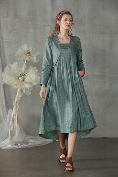 Linen dress in moss green layered dress skater dress mod Pakistani Dresses Casual, Pakistani Dress Design, Casual Dresses, Frock Dress, Mod Dress, Western Outfits Women, Fancy Kurti, Smart Dress, Boho Style Dresses