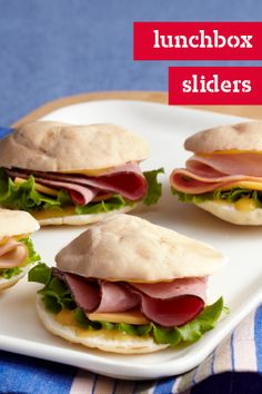 Lunchbox Sliders – Make lunchtime a little cuter with these fresh and easy turkey sliders. Featuring turkey and ham on honey mustard-smeared mini pitas, this kid-friendly recipe is ready in just 10 minutes.