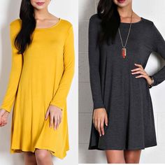Jersey Knit Long Sleeve Dress Jersey knit dress with scoop neckline and long sleeves. True to size.  Sizes: S M L   Colors: Mustard or Gray   leave a comment with your size and color. I will create a new listing for you to purchase. Dresses