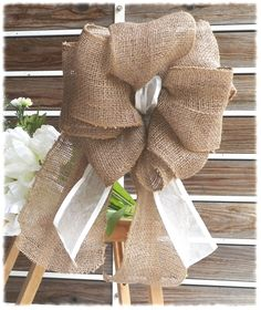 Burlap, Burlap Bow, Wreath Bow, Burlap Decoration, Pew Bow, Wedding Bow, Wedding Decor , Rustic Decor, Door Decoration - Hand Made. $15.00, via Etsy.