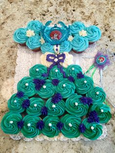 The Little Mermaid Princess Ariel Cupcake Dress for 4th birthday princess party