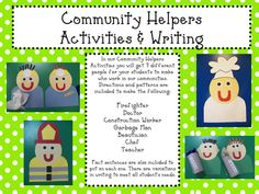 Mrs. Mayas' Kindergarten: Community Helpers- great ideas and need to check out tpt