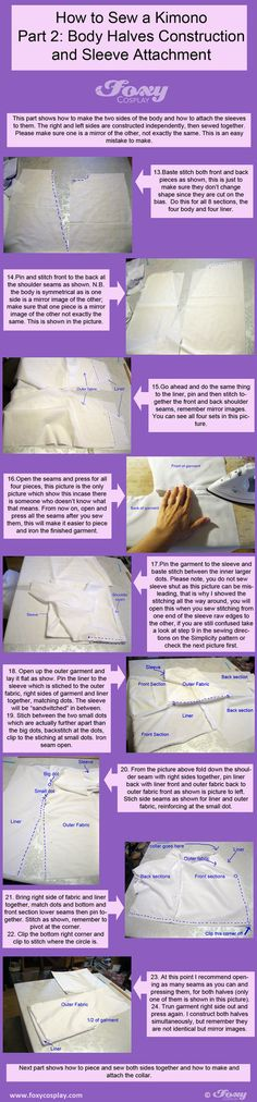 Kimono Tutorial Part 2 by VariaK on deviantART Kimono Tutorial, Costume Tutorial, Cosplay Tutorial, Cosplay Diy, Cosplay Ideas, Sewing Hacks, Sewing Projects, Sewing Ideas, Sewing Crafts