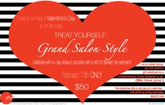 Thanks to The Denver Post for including our Valentine's Day promotion as a must-do for the week! Call the salon to book your appointment, there is still time! #grandsalon #promotion #promo #denverpost #hair #denver #style http://www.denverpost.com/Lifestyle/ci_23806526/Denver-Post-Fashion-Calendar-222015