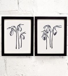 Lady's Slipper Flower Lincocut Art Print Set by Coffee in Bed on Scoutmob