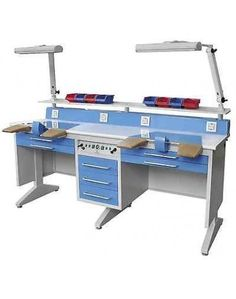 2 Person Workstation Bench for Laboratory W/Dust Collector Electronic Workbench, Dental Laboratory, Dust Collector, Dental Offices, Table Designs, Konmari, Workshop, Furniture, Space
