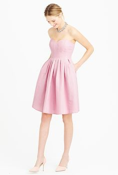 Brides.com: The Best Blush Bridesmaid Dresses Embroidered organza strapless dress, $275, Ann TaylorPhoto: Courtesy of Ann Taylor