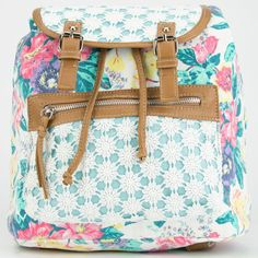 Daisy Lace Floral Backpack ($30) ❤ liked on Polyvore featuring bags, backpacks, purses, white combo, backpacks bags, white lace backpack, strap backpack, zipper bag and strap bag