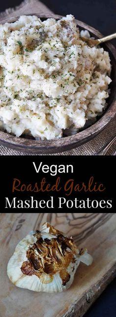 Dairy-free vegan roasted garlic mashed potatoes! A true crowd pleaser! www.veganosity.com