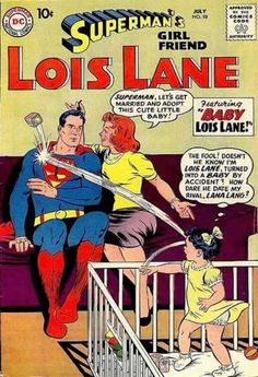 Oh deliciously stupid golden age comics.  Imagine for a moment how this happens.  How did Superman come to be on the couch with Lana.  Not to mention the transfigured Lois in the playpen...
