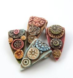 Rustic Multicolored Pennant Beads with Applied Geometric Ornament by Selena Anne Wells