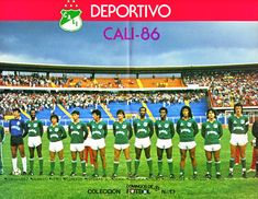 Deportivo Cali of Colombia team line up in 1986.