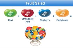 Fruit Salad Jelly Belly Flavor Recipe Punch Recipes, Bean Recipes, Candy Recipes, Yummy Recipes, Best Candy, Favorite Candy, Jelly Belly Flavors, Strawberry Blueberry, Ice Cream Cookies
