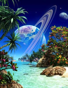 Pictures of Fantasy Planets and Alien Worlds Planets Wallpaper, Galaxy Wallpaper, Wallpaper Desktop, Wallpaper Samsung, Live Wallpapers, Beautiful Nature Wallpaper, Beautiful Landscapes, Beautiful Moon, Beautiful Images