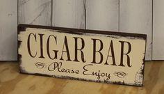 CIGAR BAR Sign/ Wedding Sign/U choose color/Great Shower Gift/Vintage Style/Brown/Ivory on Etsy, $14.95