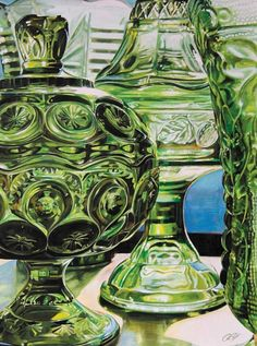 Green glass acrylic painting by Rebecca Zook My Glass, Glass Art, Vintage Green Glass, Green Milk Glass, Antique Glassware, Fenton Glass, Carnival Glass, Glass Collection, Colored Glass