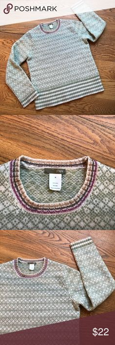 J Crew Sweater Beautiful sage green and cream sweater from J Crew.  Cute collar design with a pop of bright pink and caramel. Good used condition, no flaws. J. Crew Sweaters