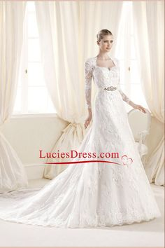2014 Modest Long Sleeves Wedding Dress Sheath/Column With Beaded Sash And Applique Tulle Chapel Train