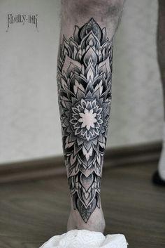 Mandala leg tattoo by Family Ink #mandalatattoo #mandala #ornamenttattoo #geometrictattoo #blackworktattoo #blacktattooart