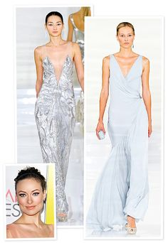 """What's on #OliviaWilde's wish list for spring? """"The blue dress—I would wear to some amazing party!"""" she told InStyle at the #RalphLauren runway show. """"I also loved the finale dress,"""" she said of the silver beaded design. """"It was such a showstopper."""" http://www.instyle.com/instyle/package/general/photos/0,,20560560_20567978,00.html"""