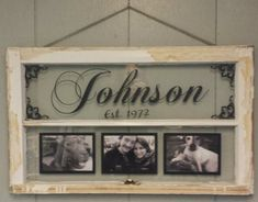 "Looking for a wonderful wedding gift? Maybe something perfect for that special someone in your life. This one of a kind personalized up-cycled vintage window is what you have been searching for. The above pictured window has the family name centered in the top pane accented by Victorian flourishes. The bottom pane has three 5x7"" empty frames that you can easily put your favorite pictures in to share your fondest moments. This vintage window can be personalized to your liking in so many.."