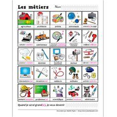 Fichiers PDF téléchargeables Versions en couleurs et noir et blanc incluses 2 pages Afin d'apprendre le nom des métiers, voici une petite affiche avec 25 métiers illustrés. L'élève peut écrire le métier qu'il voudra exercer au bas de la page.