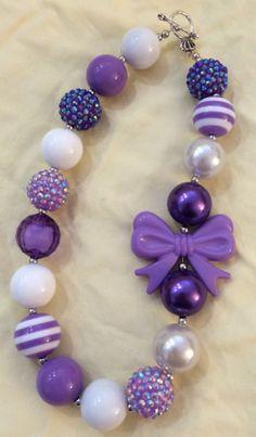 Purple Bow Bubblegum Bead Necklace by CraftyCreationsByLB on Etsy, $16.00