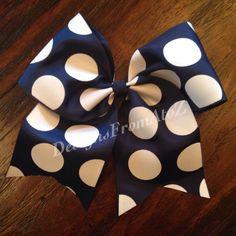 Navy Dot Cheer Bow by DesignsFromAtoZ on Etsy https://www.etsy.com/listing/203459641/navy-dot-cheer-bow